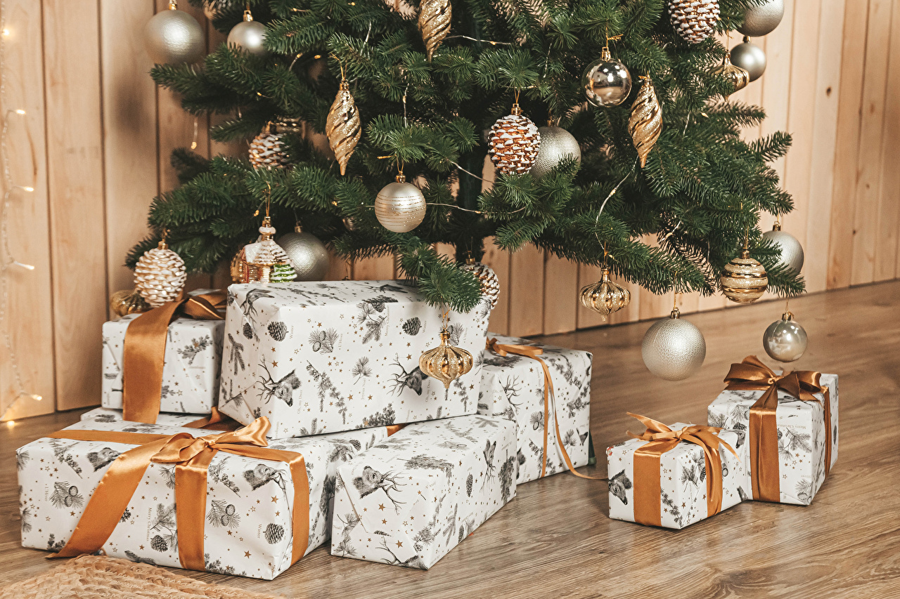Photo New year New Year tree present walls Balls Christmas Christmas tree Gifts Wall