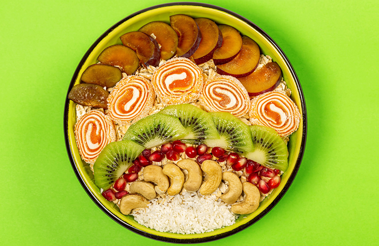 Wallpaper Oatmeal Marmalade Kiwi Grain Apples Pomegranate Food Plate Nuts Colored background Kiwifruit Chinese gooseberry