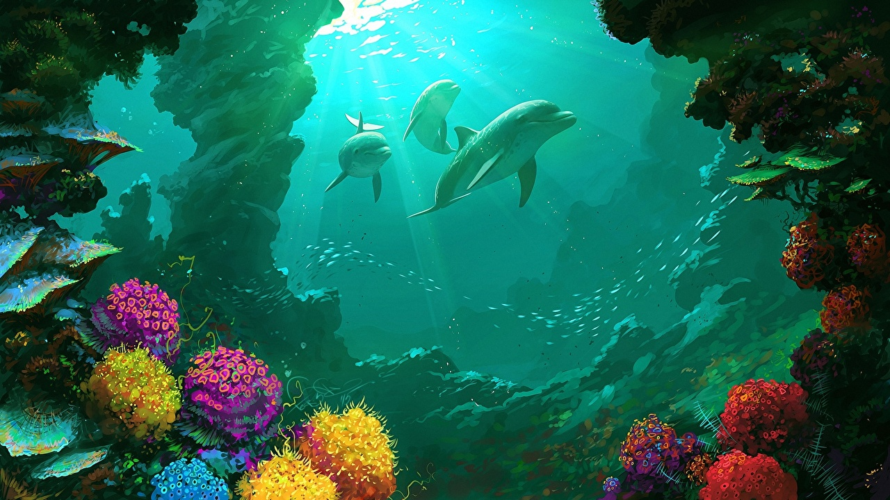 Images Dolphins Underwater world Three 3 Animals Painting Art animal