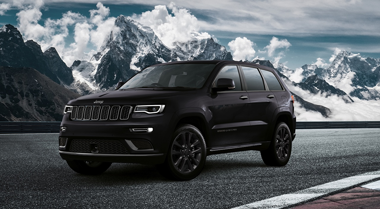 Pictures Jeep SUV Grand Cherokee S EU-spec, 2018 Black mountain auto Metallic Sport utility vehicle Mountains Cars automobile