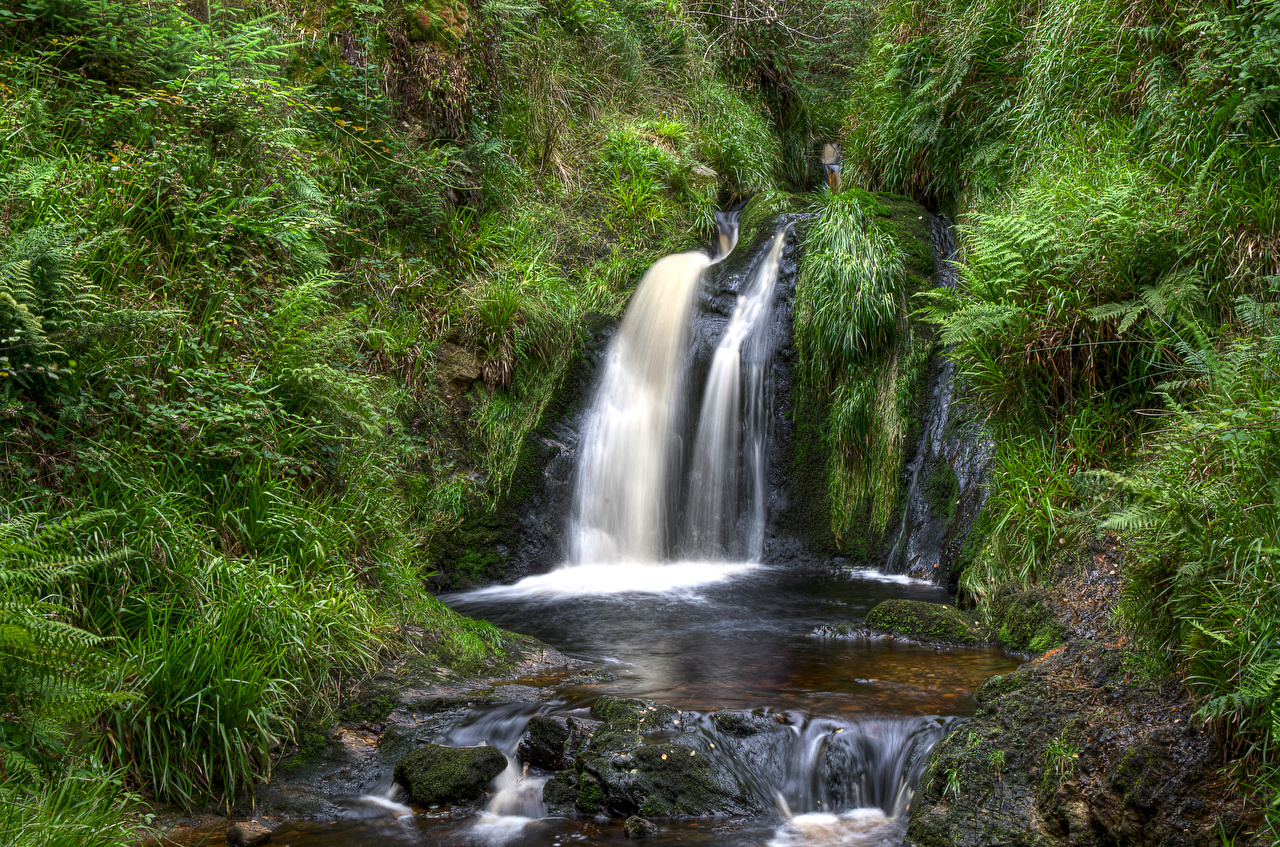 Picture United Kingdom Northern Ireland, Gortin Forest Park Nature Waterfalls park Stones Trees Parks stone