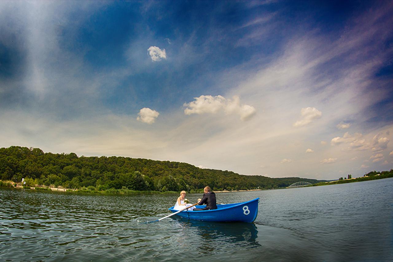 、ボート、空、川、結婚式、新郎、花嫁、自然、