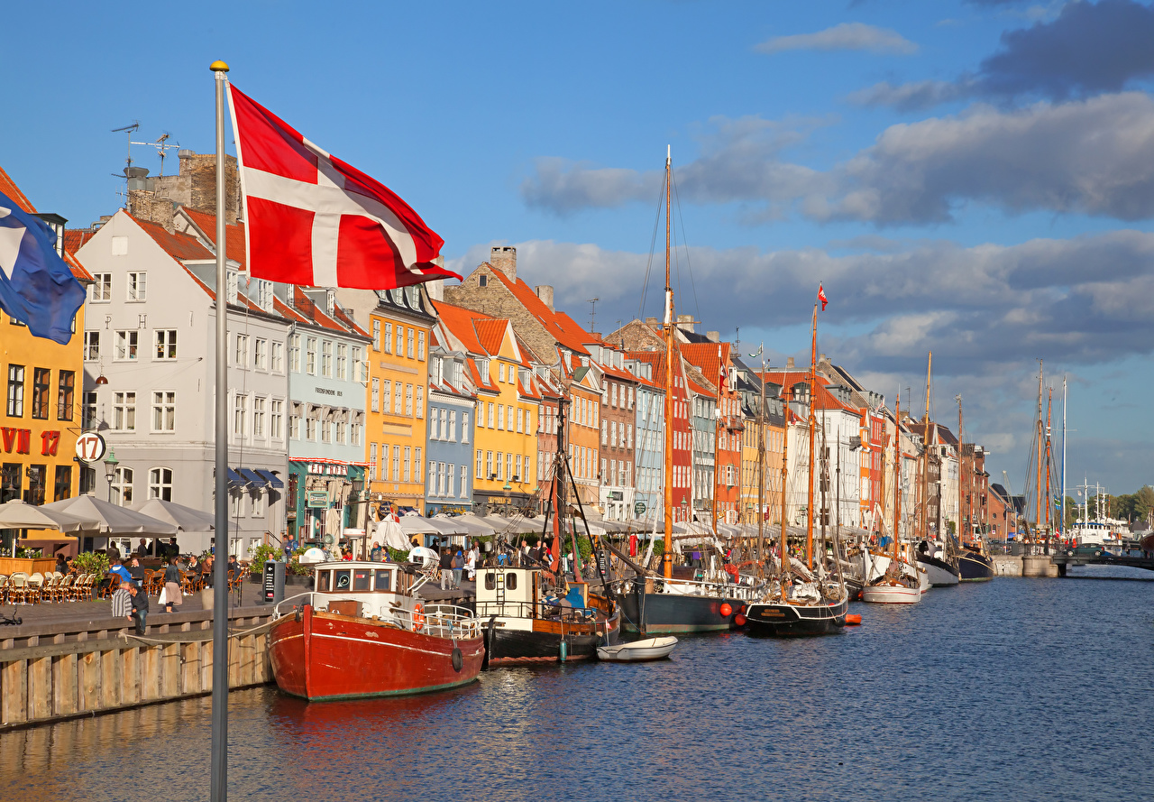 Wallpaper Copenhagen Denmark Canal Flag Riverboat Houses Cities Building