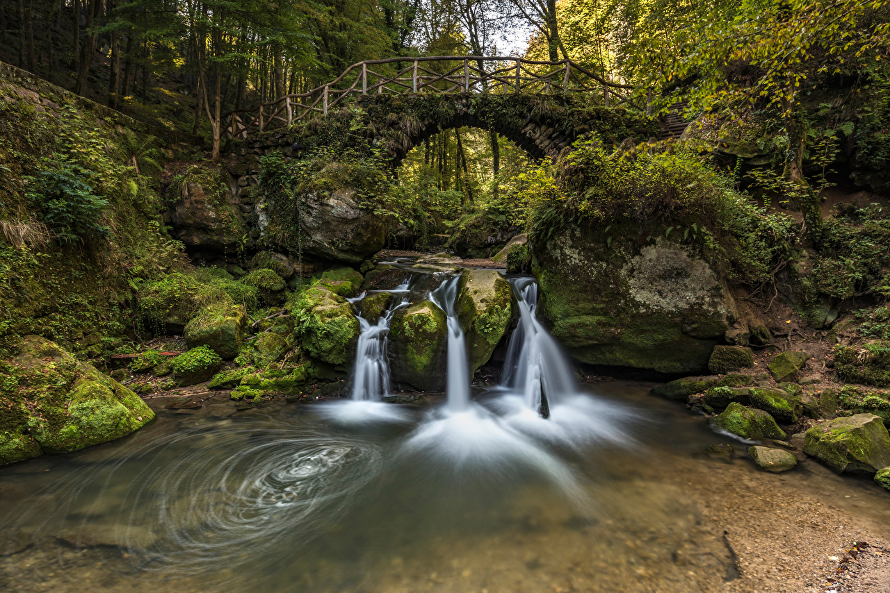 Images Luxembourg Arch Nature Creeks bridge Waterfalls forest Moss Stones Trees brook Creek Stream Streams Bridges Forests stone