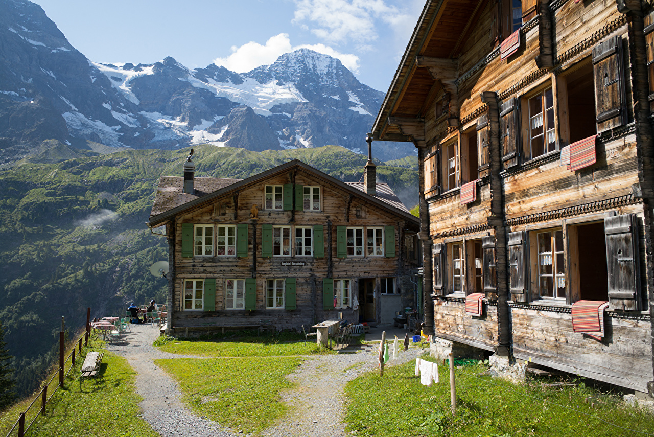 Desktop Wallpapers Alps Switzerland Hotel Obersteinberg Nature Mountains Wooden Building mountain from wood Houses