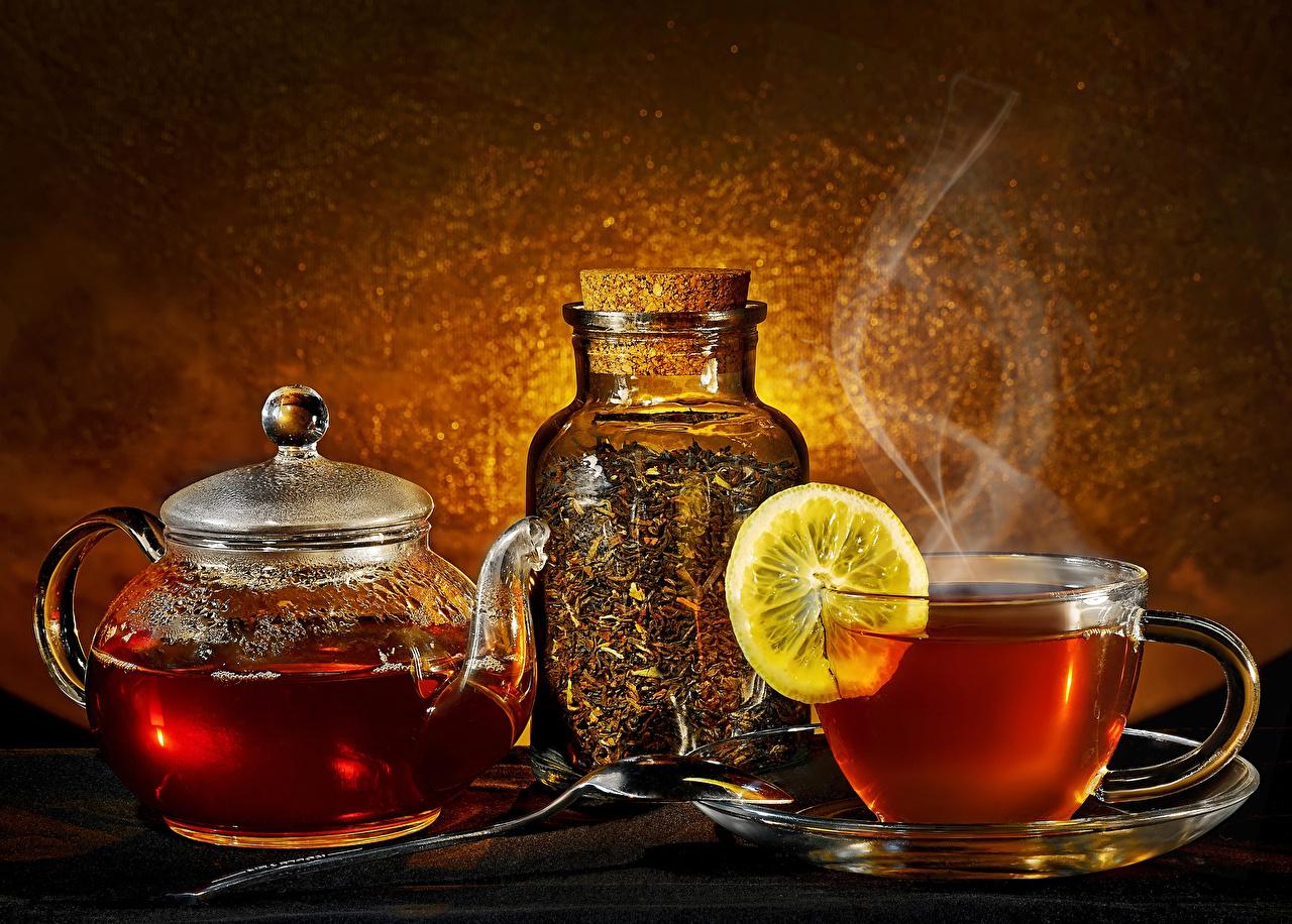 Фото Чай банке Чайник Лимоны Пар Чашка Продукты питания Банка банки Еда пары Пища чашке паром
