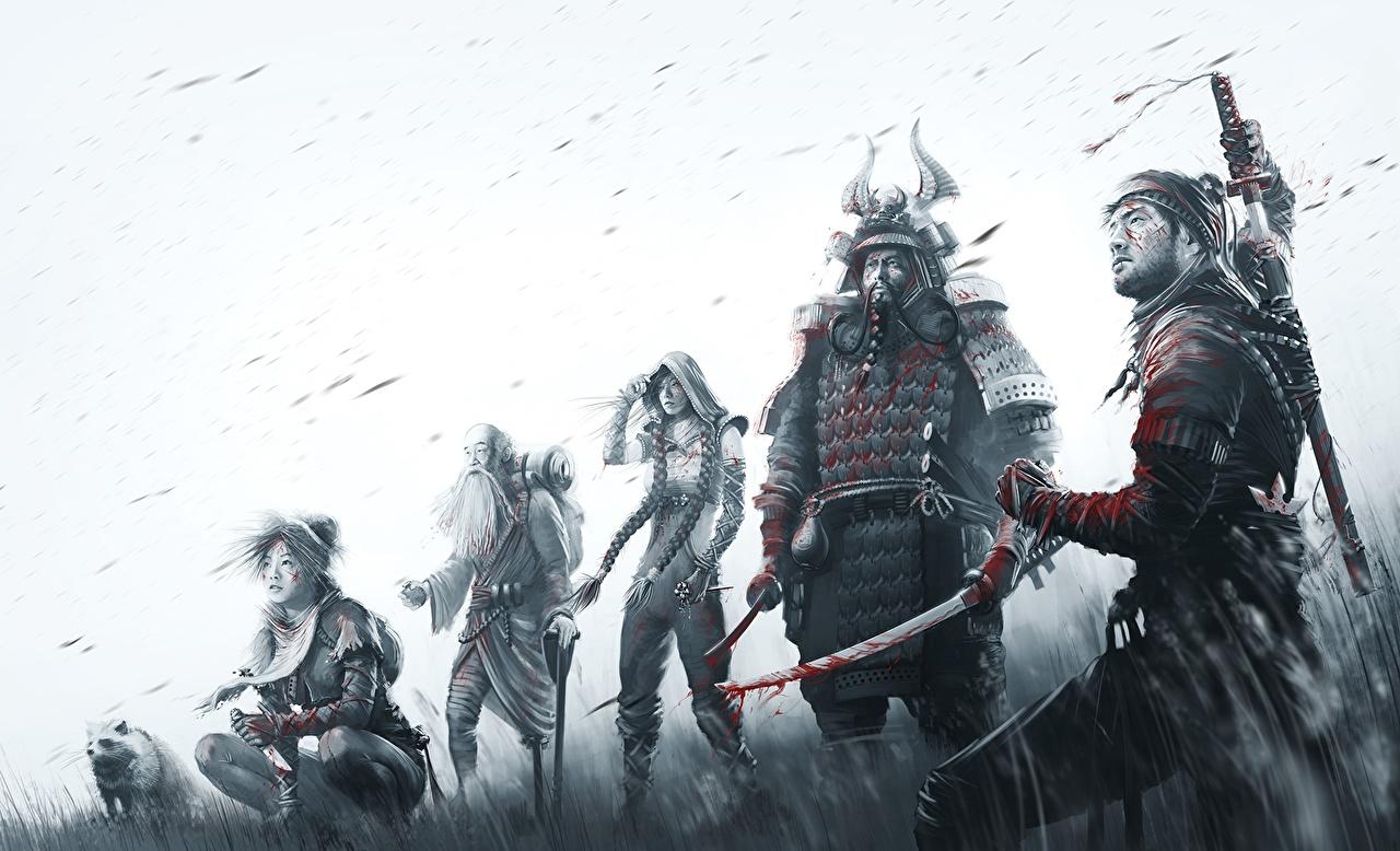 壁紙 勇士 Shadow Tactics Blades Of The Shogun 黑白 武士 游戏