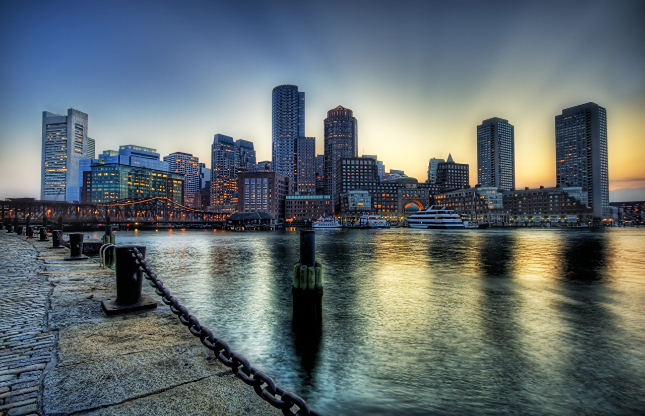 Images Boston USA Massachusetts HDR Chain Waterfront Skyscrapers Cities Building HDRI Houses