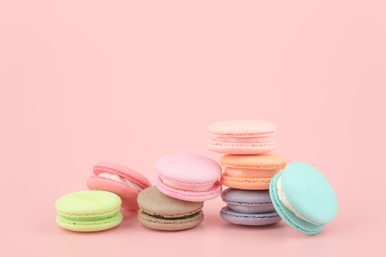 Desktop Wallpapers French Macarons Food Cookies Colored
