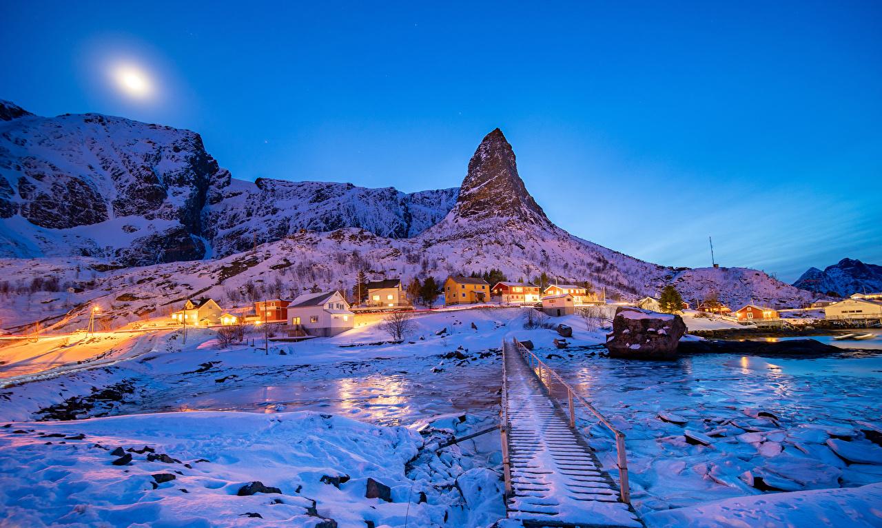 、ノルウェー、ロフォーテン諸島、冬、住宅、夕、橋、Reine、雪、岩、建物、岩石、都市、