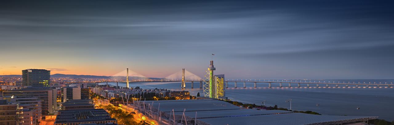 Wallpaper Lisbon Portugal panoramic Vasco da Gama Bridge Bridges Houses Cities Panorama bridge Building