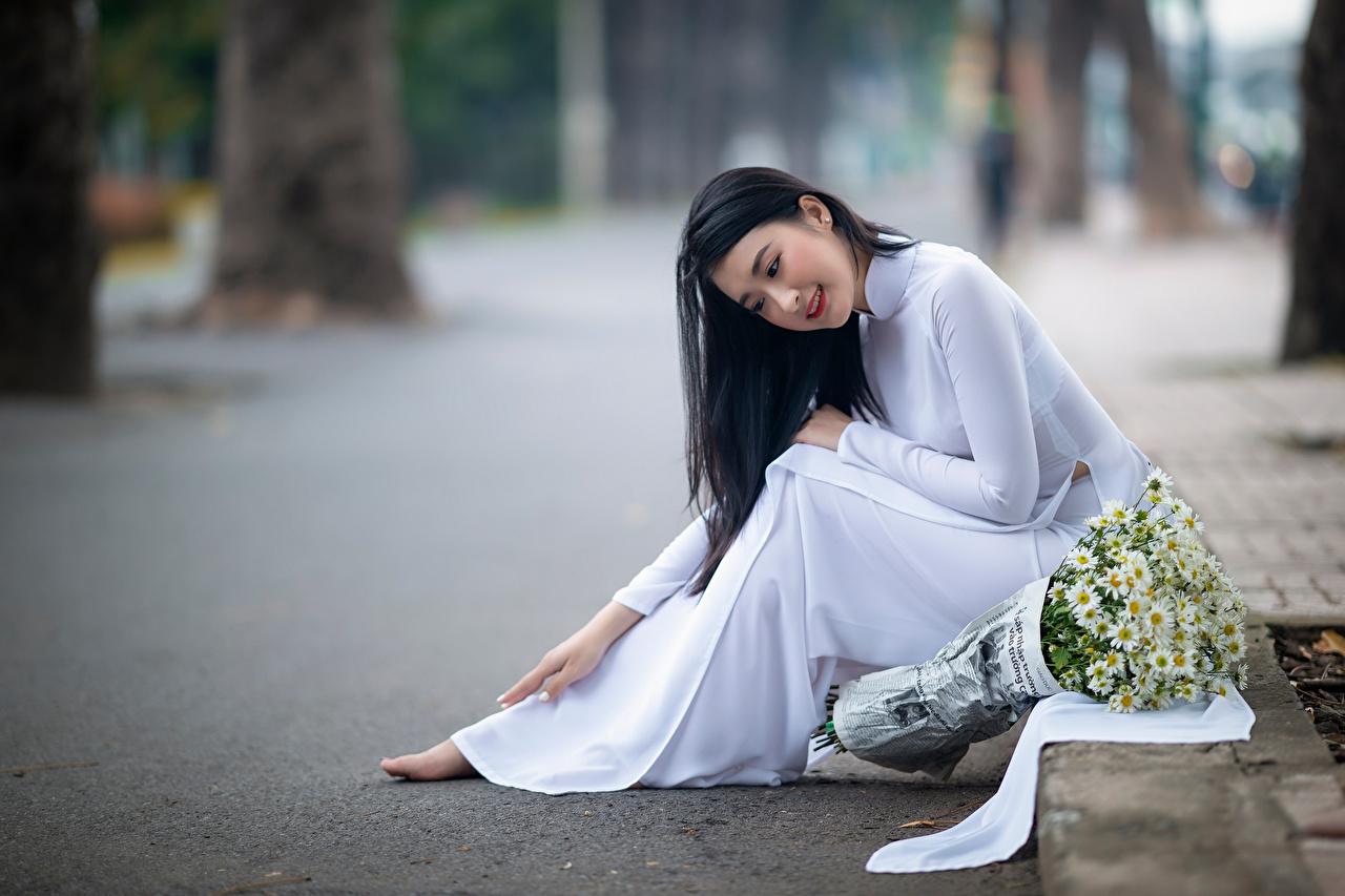 Asiático Buquê Matricaria Bokeh Sentados Vestido jovem mulher, mulheres jovens, moça, buquês, asiática, sentada, Fundo desfocado Meninas