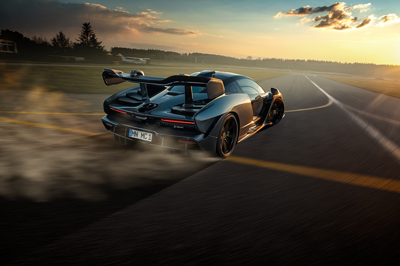 Picture McLaren Senna, P15 Roads Motion auto Evening Back view moving riding driving at speed Cars automobile