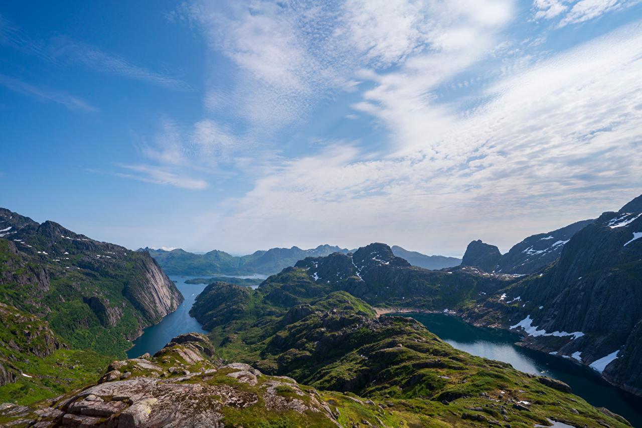 Desktop Wallpapers Nature Lofoten Norway Trollfjord Fjord Cliff mountain Sky Clouds Rock Crag Mountains