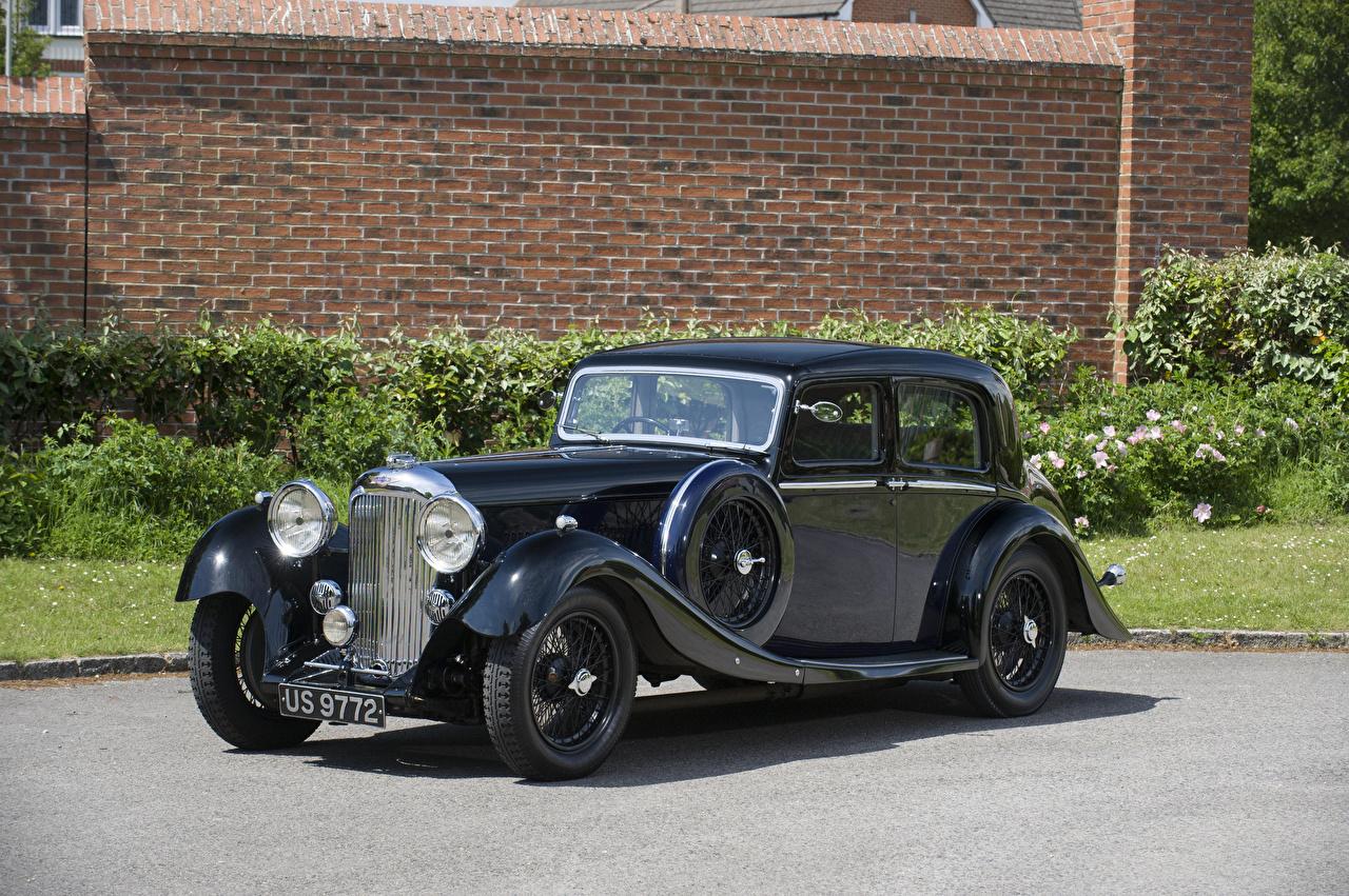 Bilder Lagonda M45 Saloon, 1935 antik Schwarz Autos Seitlich Retro auto automobil