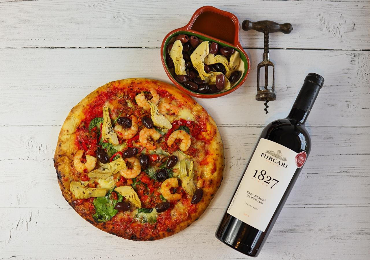 Wallpaper Wine Pizza Olive Shrimp Food bottles boards Caridea Bottle Wood planks