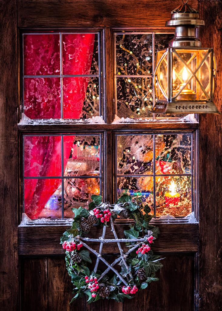 Foto Neujahr Ast Beere Zapfen Fenster Straßenlaterne