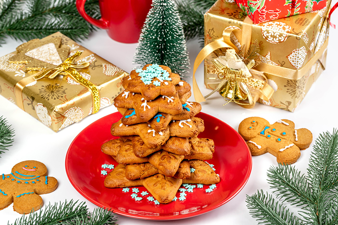 Foto Neujahr englisches Wort Geschenke Ast Kekse das Essen Design Englisch englische englischer text Lebensmittel