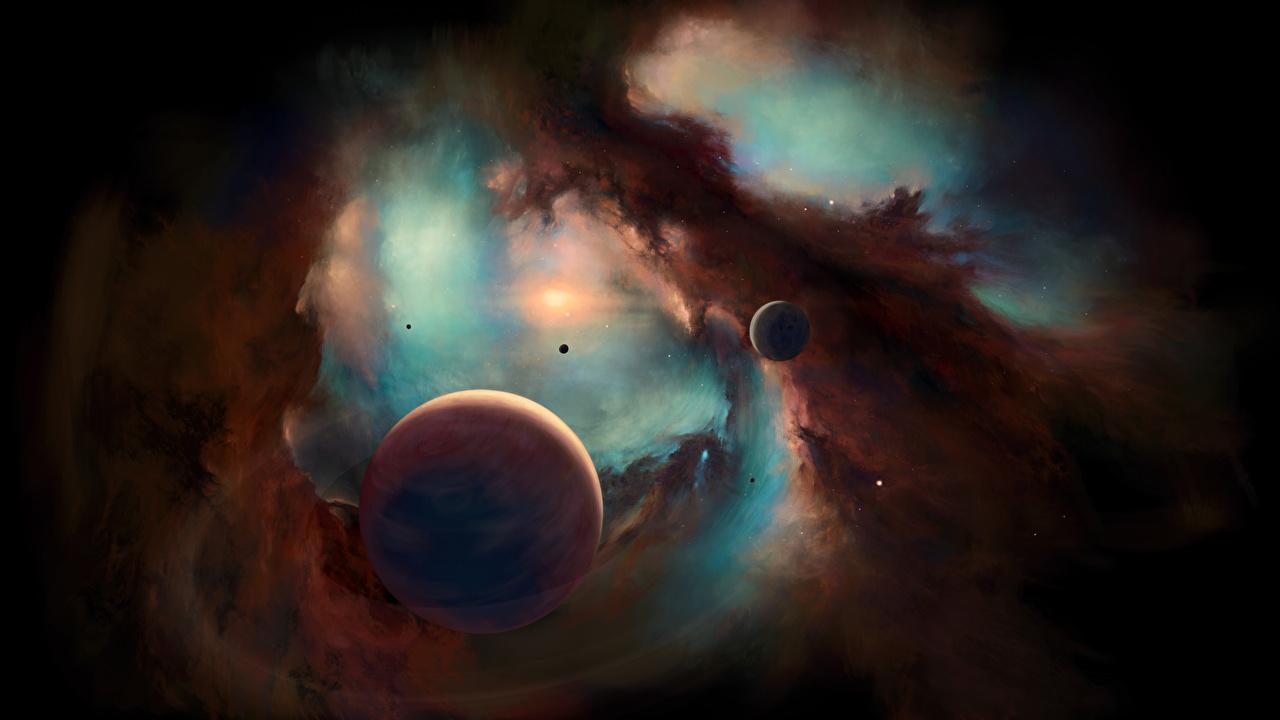 Achtergrond Planeten Nevels en gaswolken Ruimte planeet