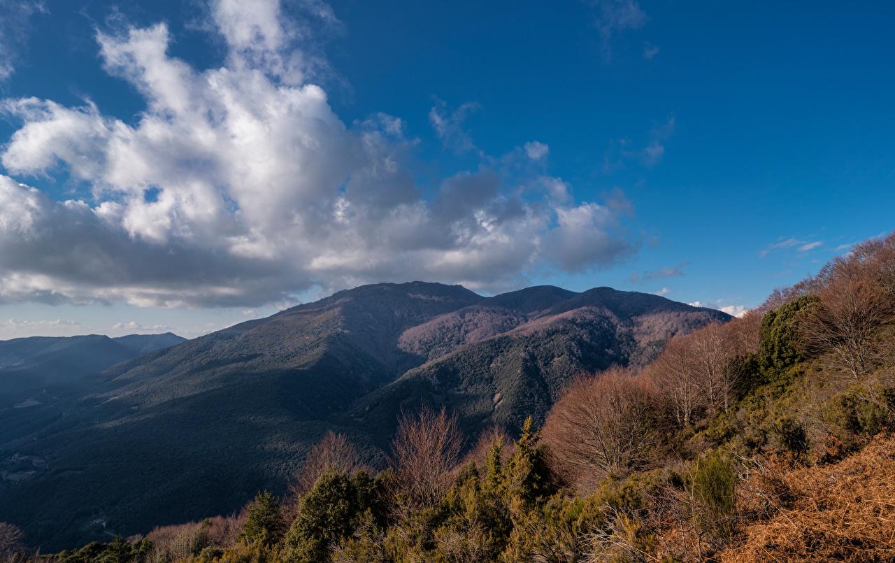 Fotos von Spanien Catalonia Natur Gebirge Himmel Wolke Bäume Berg