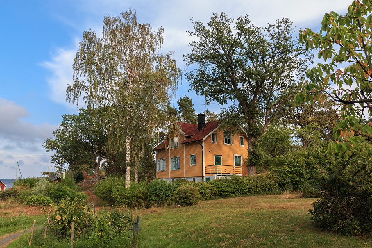 Fotos von Schweden Saltsjobaden Herrenhaus Haus Bäume Städte Strauch Design Eigenheim Gebäude