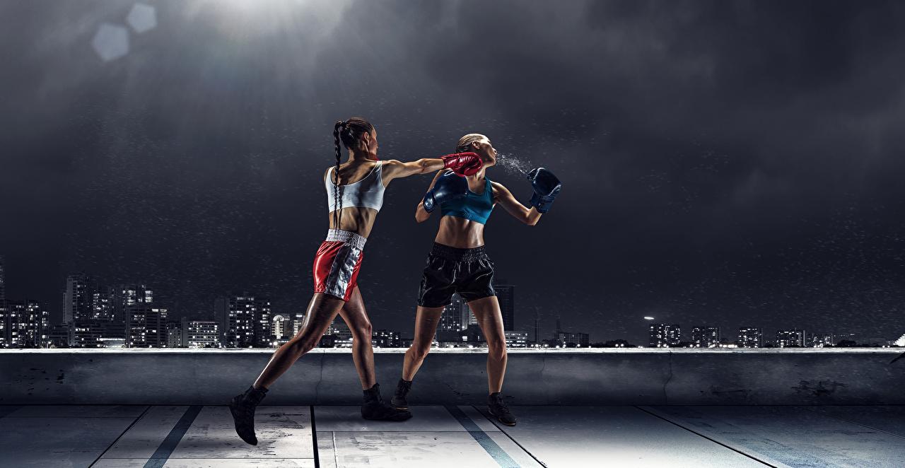 Bilder Schlag 2 junge frau Schlägerei sportliches Boxen Uniform schlagen Zwei Sport Mädchens junge Frauen