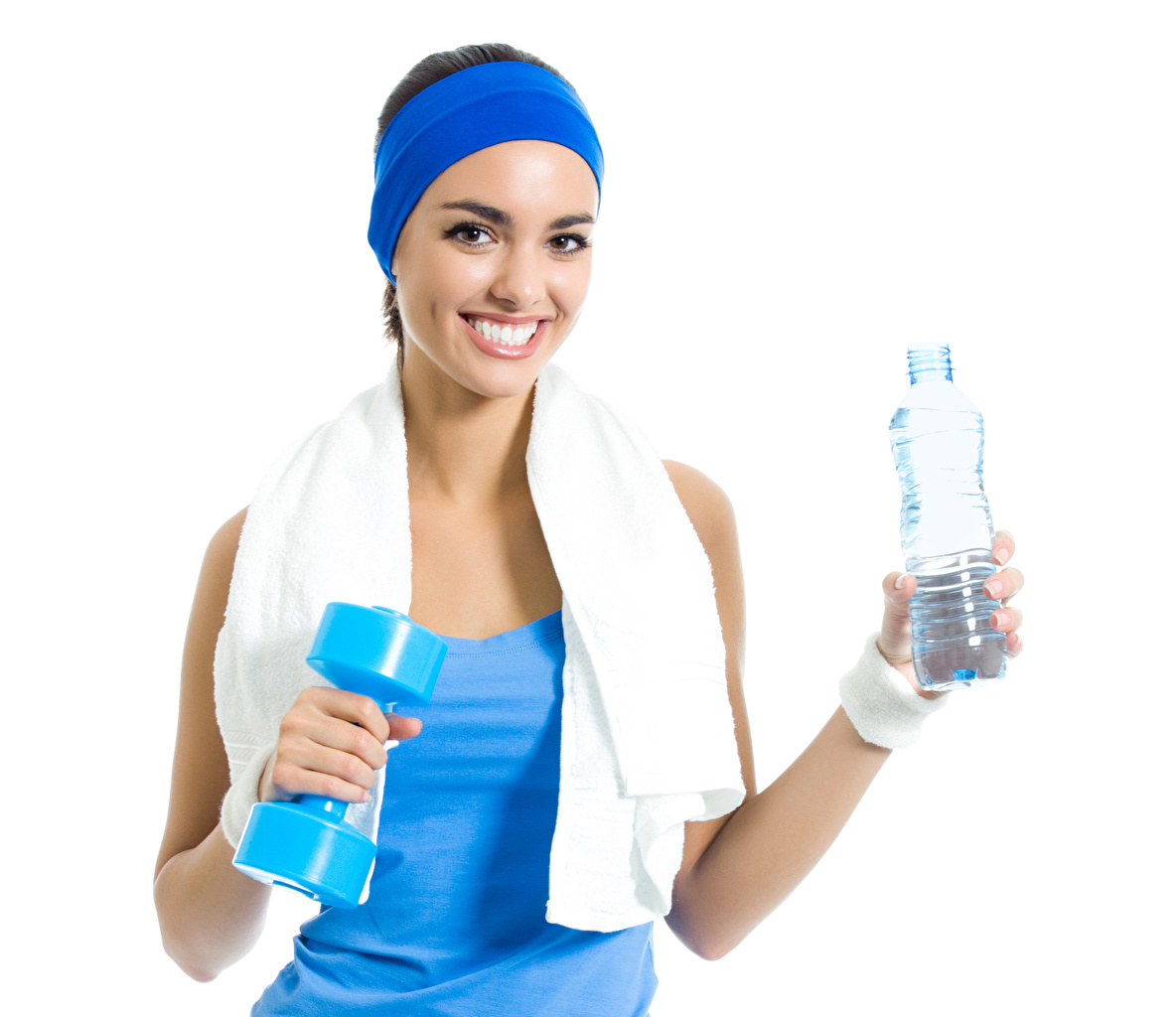 Wallpaper Smile Fitness Sport Girls dumbbell Towel Bottle Staring White background Dumbbells bottles Glance