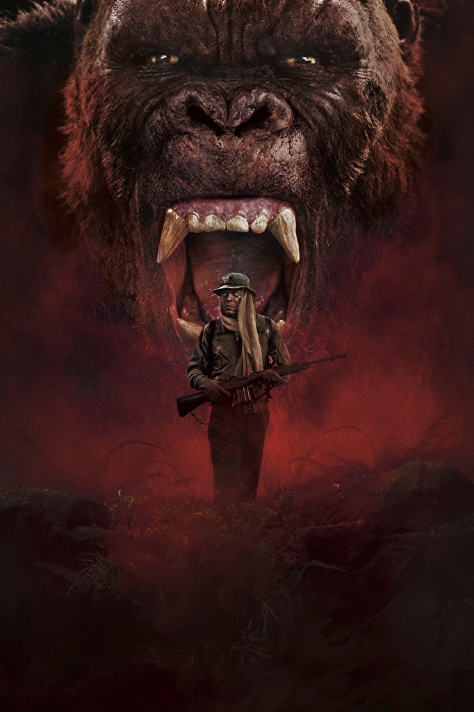 Picture Kong: Skull Island Monkeys Men Canine tooth fangs Samuel L. Jackson Negroid film angry Snout  for Mobile phone monkey Man Roar Movies