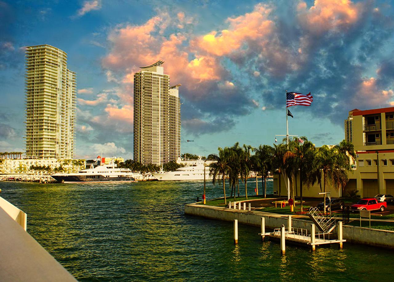 Photos Miami USA Bay Marinas Houses Cities Pier Berth Building