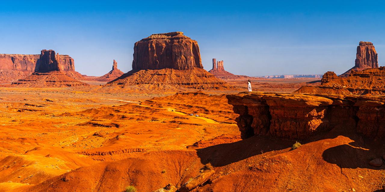 Desktop Hintergrundbilder USA Panorama Monument Valley, Utah Natur Felsen Vereinigte Staaten Panoramafotografie