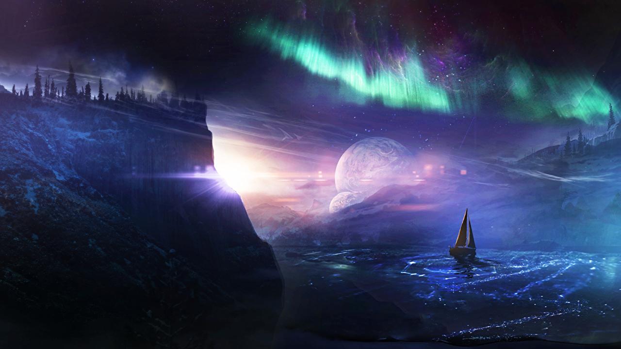 、ボート、セーリング、湖、夜、岩、オーロラ、岩石、ファンタジー、