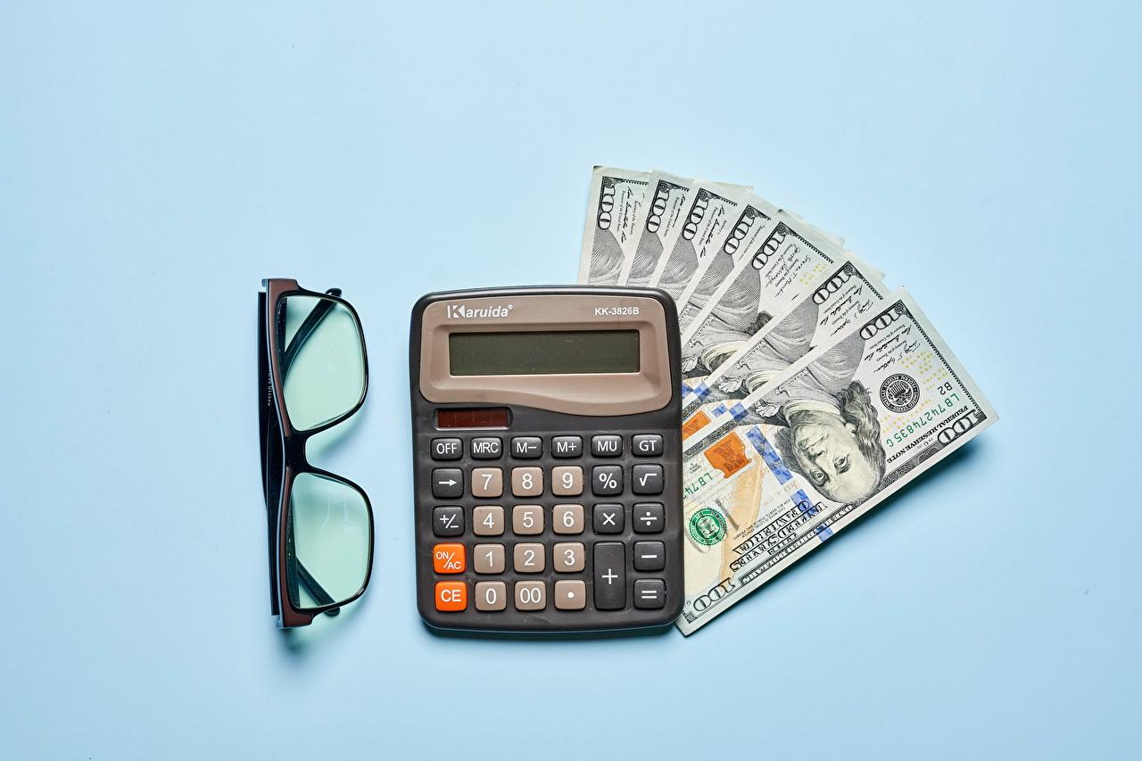 Dinero Papel moneda Dólar calculator Fondo de color Gafas Billete, lentes, anteojos