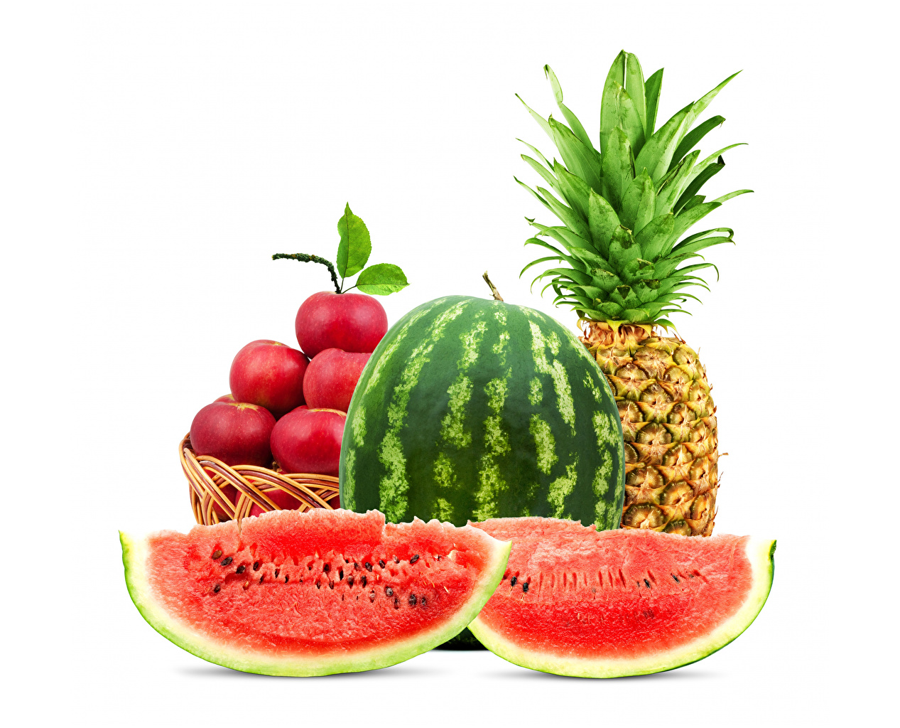 Image pieces Apples Pineapples Watermelons Food White background Piece