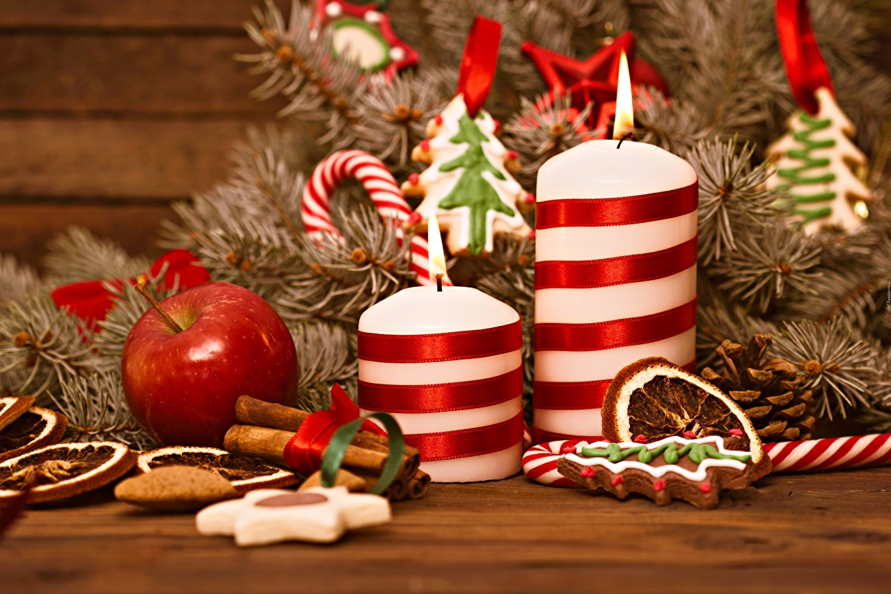 Photo Christmas Fire Apples Candles Branches New year Flame