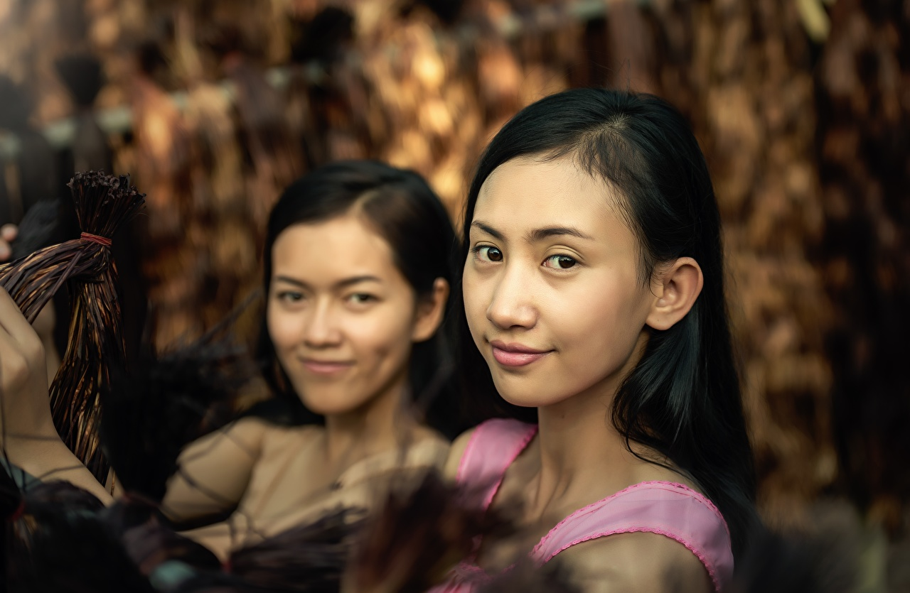Photos Brunette girl 2 Girls Asiatic Glance Two female young woman Asian Staring