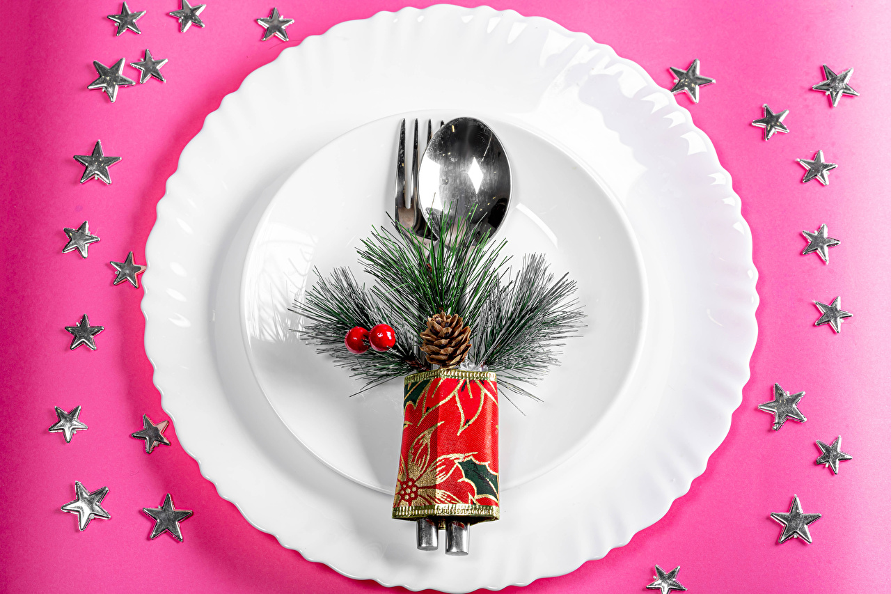 Picture Christmas little stars Food Plate Spoon Branches Pine cone Colored background New year Star decoration Conifer cone