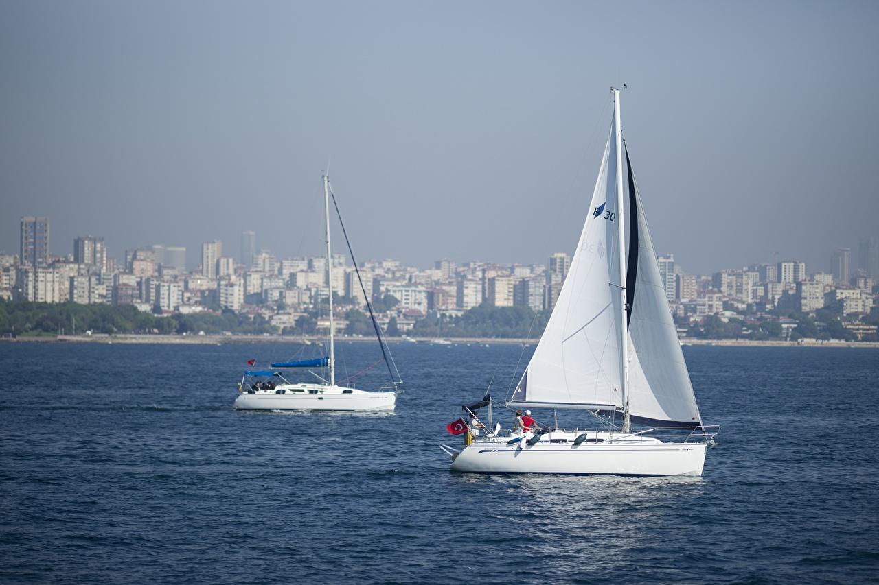 Hintergrundbilder Istanbul Türkei 2 Jacht Segeln Zwei Yacht