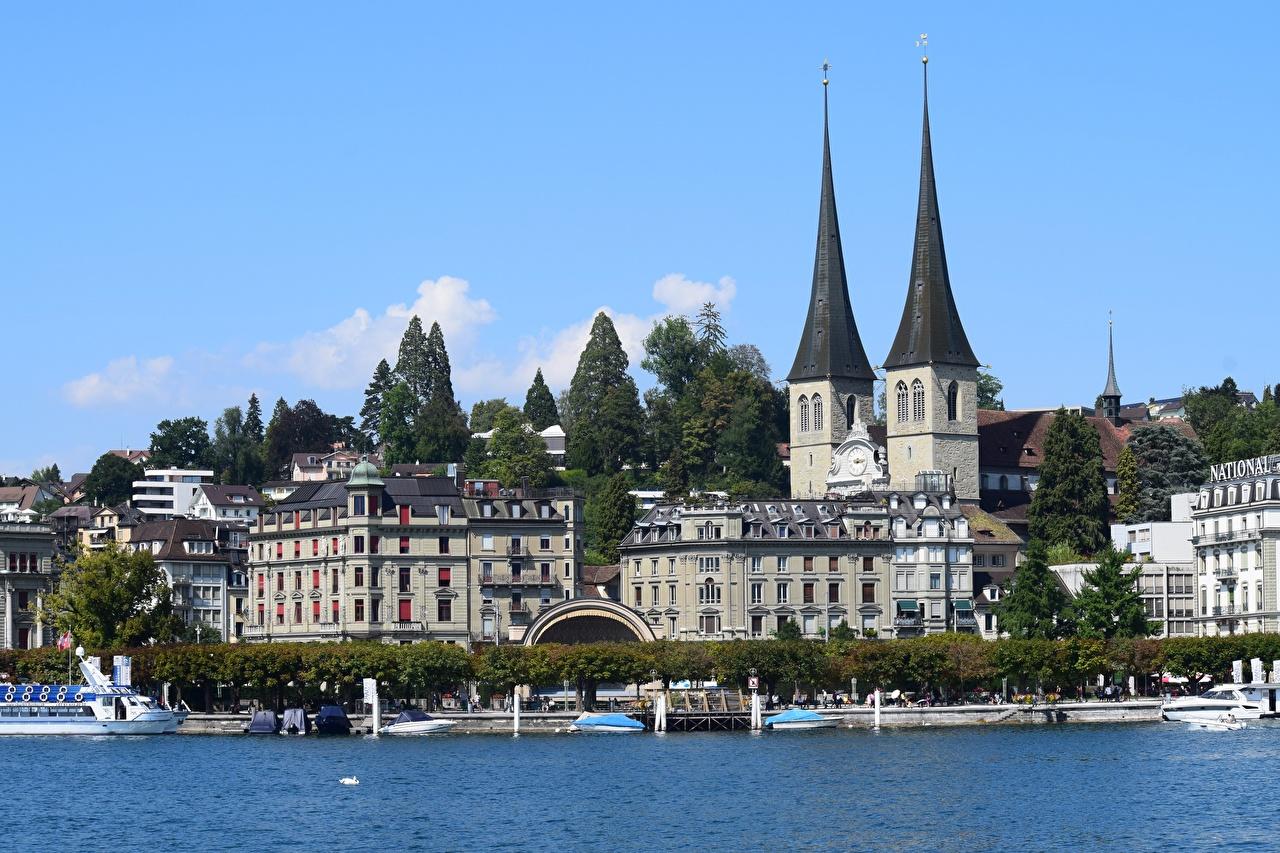 Photo Switzerland Church Of The Hofkirche, Lucerne, Canton of Schwyz, Lake Lucerne Berth speedboat Houses Cities Pier Marinas Motorboat powerboat Building