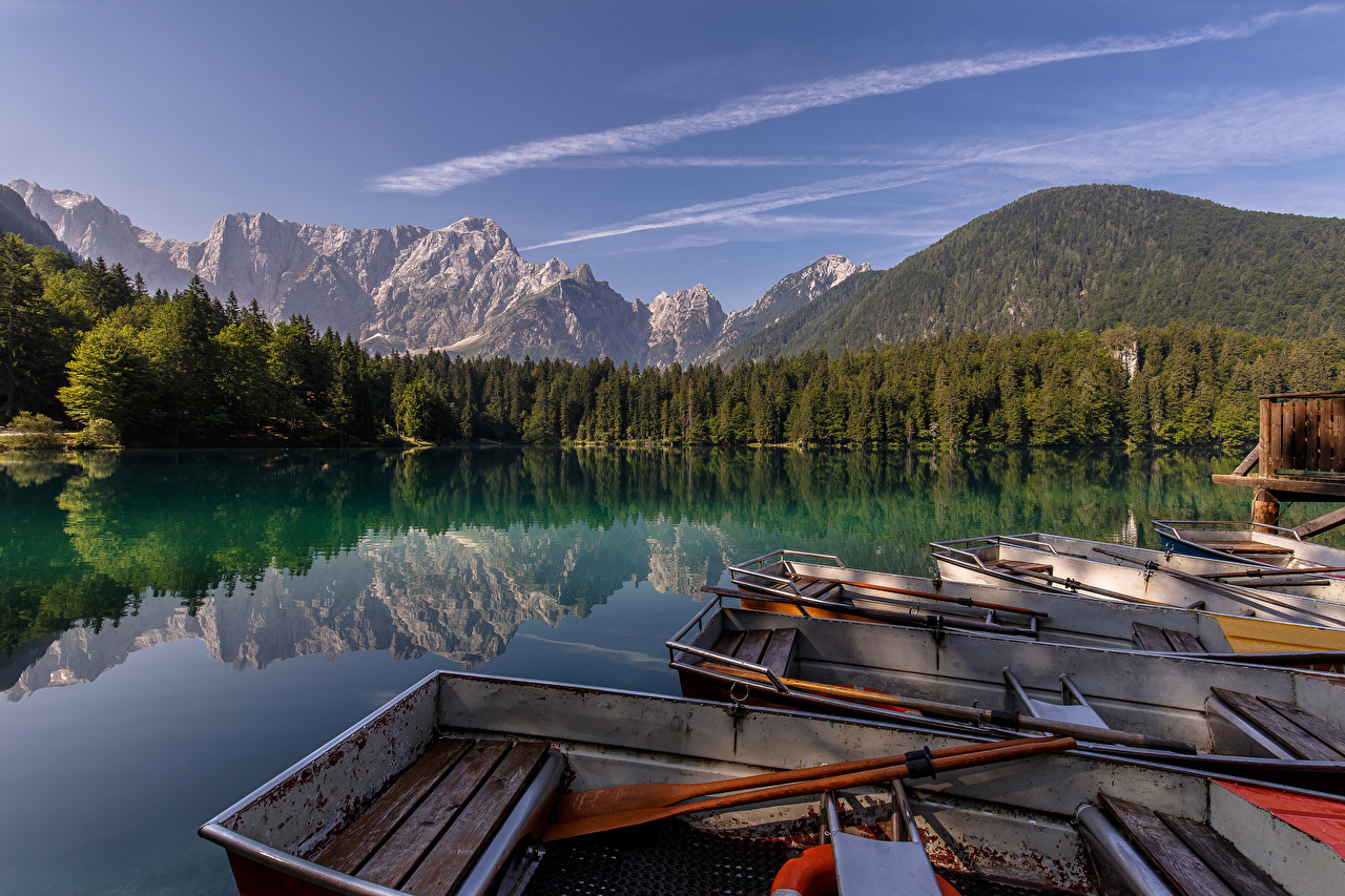 Pictures Alps Italy Lakes of Fusine Nature Mountains Lake Reflection Boats mountain reflected