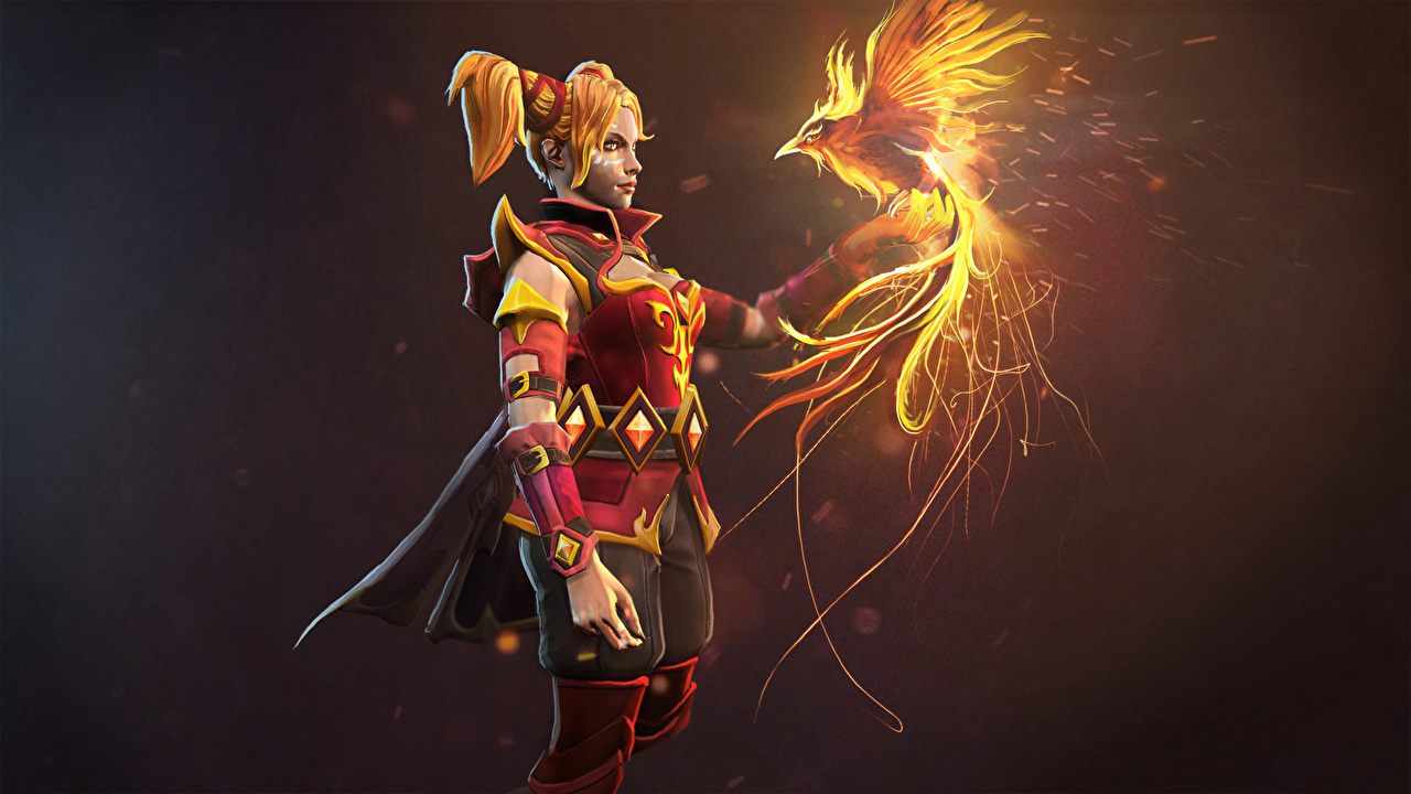 Desktop Wallpapers young woman DOTA 2 Luna Phoenix Phoenix mythology warrior Games Fantasy Redhead girl Girls female Warriors vdeo game