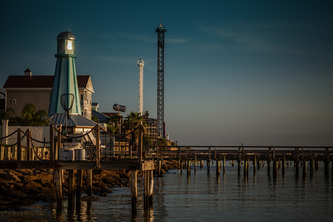 Wallpaper Texas USA Kemah Lighthouses Berth Coast Cities Pier Marinas