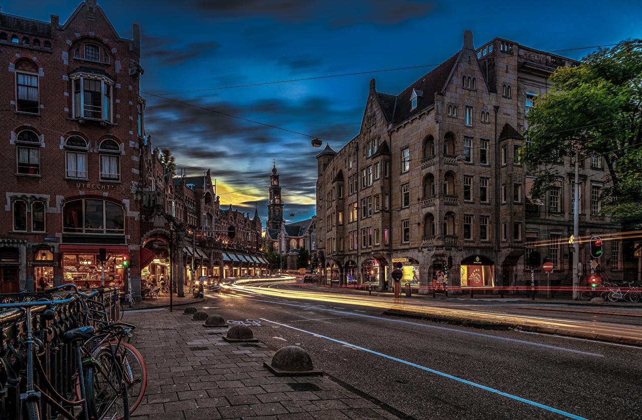 Desktop Wallpapers Amsterdam Netherlands Roads Street Evening Houses Cities Building