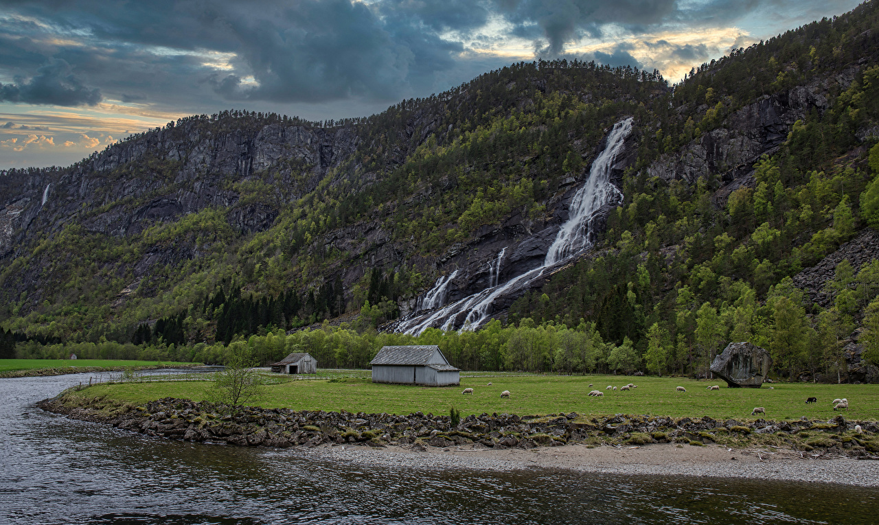 Image Norway Hildal Cliff Nature Mountains Waterfalls Rivers Rock Crag mountain river