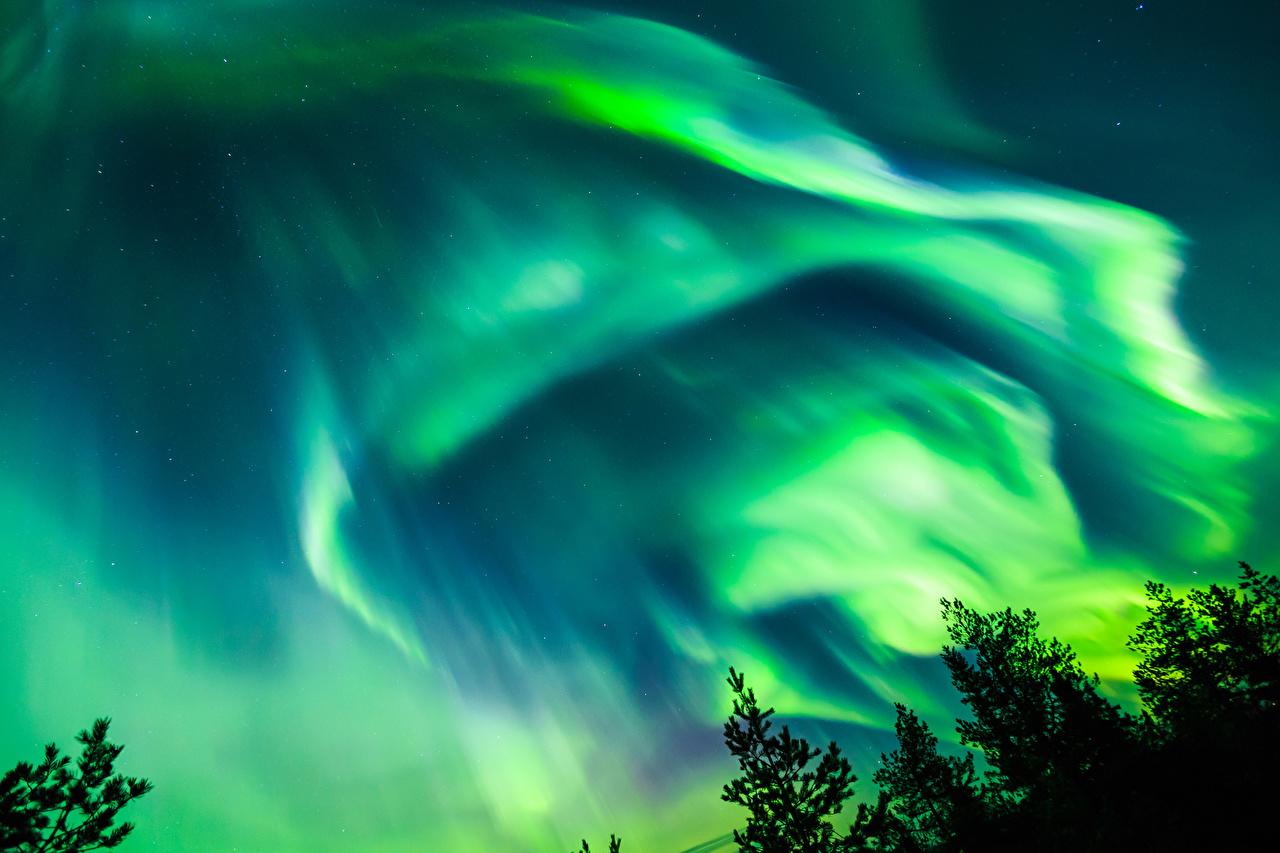 、ノルウェー、空、夜、オーロラ、自然、