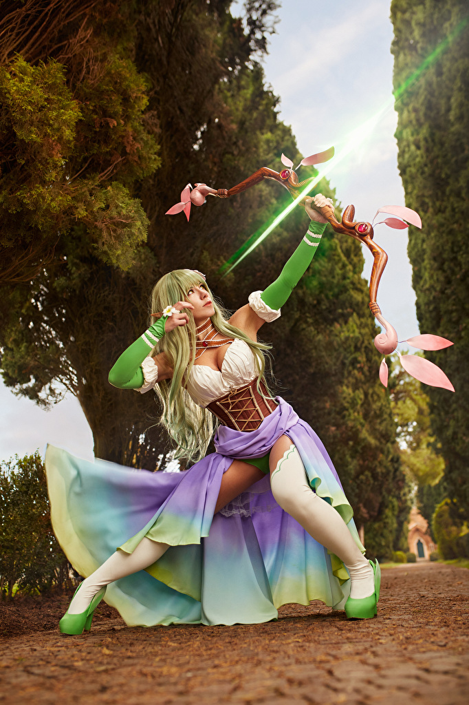 Picture Fantasy warrior Pose Mikhail Davydov photographer Rena Cosplay female Bow weapon  for Mobile phone Warriors posing cosplayers costume play Girls young woman