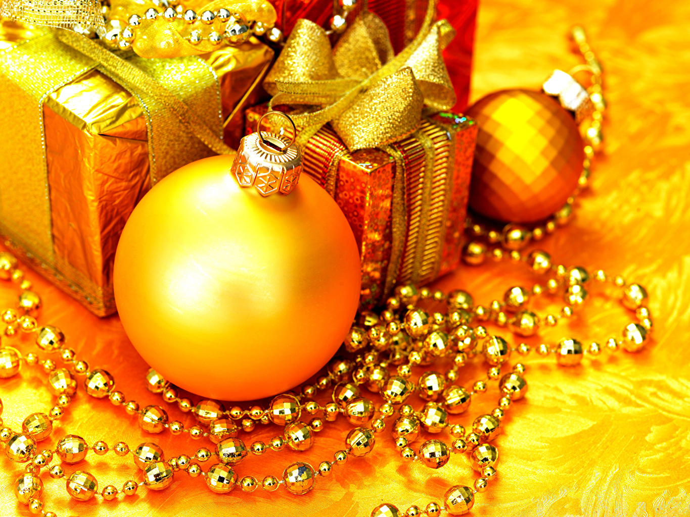 Photos New year Gold color present Balls Christmas Gifts