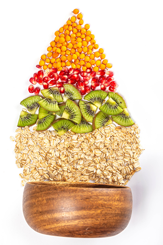 Picture Christmas Oatmeal Christmas tree Kiwi Grain Pomegranate Food White background  for Mobile phone New year New Year tree Kiwifruit Chinese gooseberry