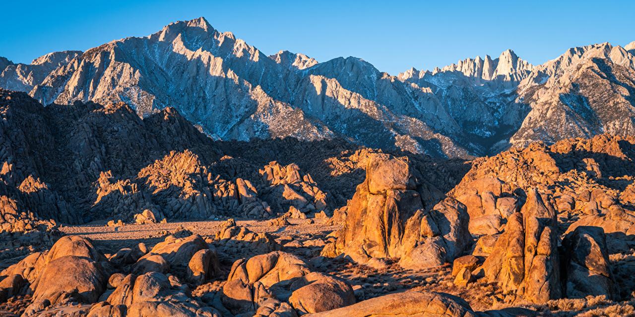 Photos California USA Alabama Hills Rock Nature mountain Stones Crag Cliff Mountains stone