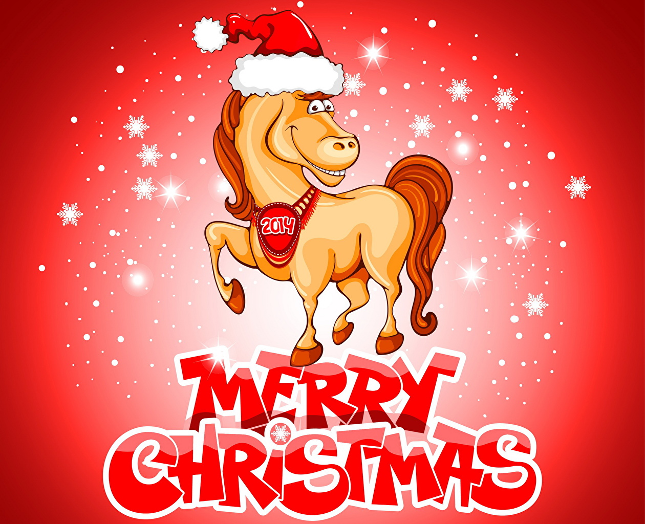 Photos Horses New Year Winter Hat Holidays Vector Graphics