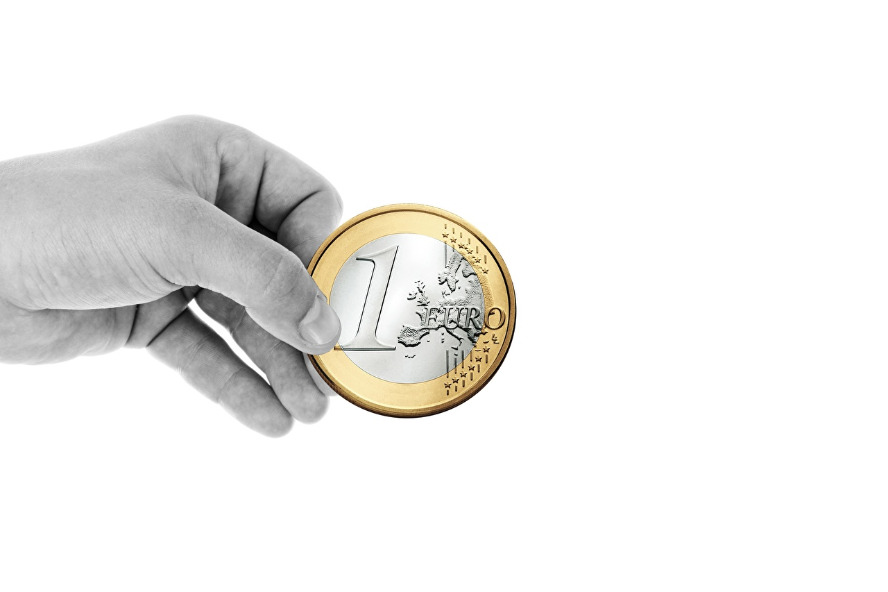 Images Euro Coins Hands Money White background